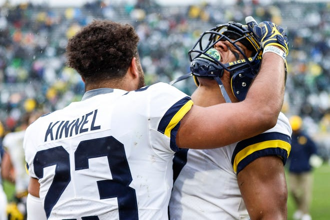 With Michigan's definitive win over Michigan State, and Ohio State falling to Purdue, there's some shakeup in the top five of the Free Press' college football top 25 rankings. Is Michigan in the top four? Receiving votes this week is Purdue. Dropping out is Michigan State, Mississippi State and Cincinnati.