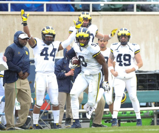 Michigan's Donovan Peoples-Jones catches the go-ahead touchdown pass against Michigan State during the third quarter Saturday, Oct. 20, 2018 at Spartan Stadium in East Lansing.