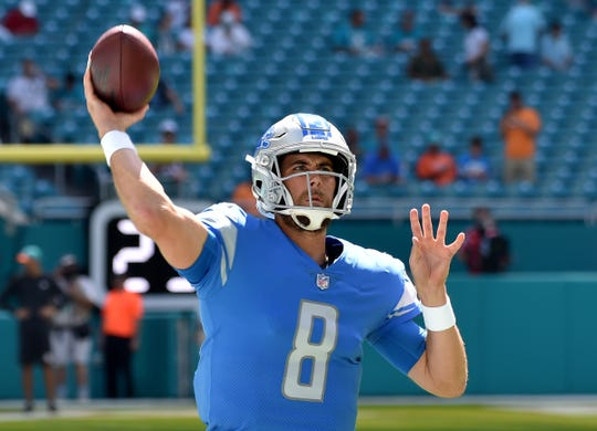 Lions quarterback Matt Cassel warms up before a game against Miami Dolphins on Sunday, Oct. 21, 2018, in Miami Gardens, Fla.