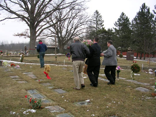Eric Winton, Roger Belcher and Roger Winton carrying the casket for Brooke Winton for a burial in March of 2005. Brooke's mother Angie Winton is now the president of Metro Detroit Share, a local pregnancy and infant loss support group.