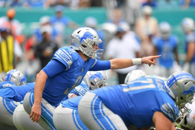 Lions quarterback Matthew Stafford calls out signals in the third quarter of the Lions' 32-21 win on Sunday, Oct. 21, 2018, in Miami Gardens, Fla.