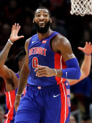 Pistons center Andre Drummond reacts to a call during the first half.