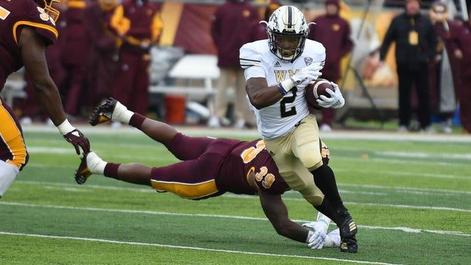 Western Michigan's LeVante Bellamy rushed for 145 yards and a TD in Saturday's 35-10 win over Central Michigan.