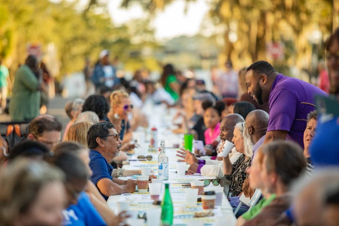The Longest Table, hosted by The City of Tallahassee, Leon County Government, The Village Square and Leadership Tallahassee, brought the community together in downtown Tallahassee after Hurricane Michael.