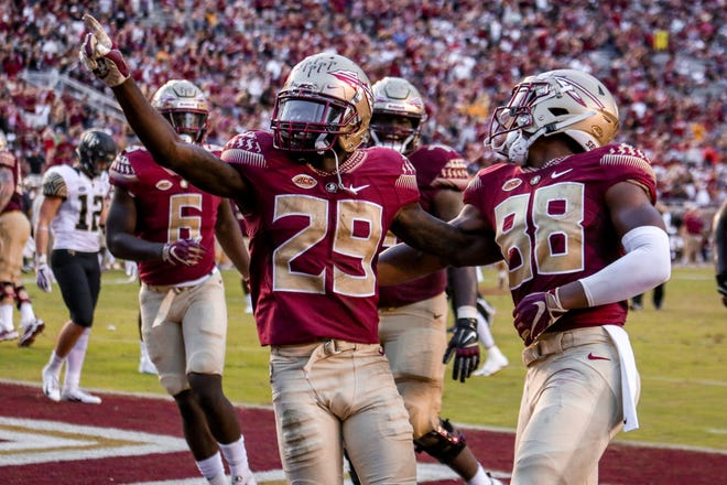 D.J. Matthews (29) and company celebrate after scoring another touchdown against Wake Forest on Saturday, Oct. 20 at Doak Campbell Stadium.