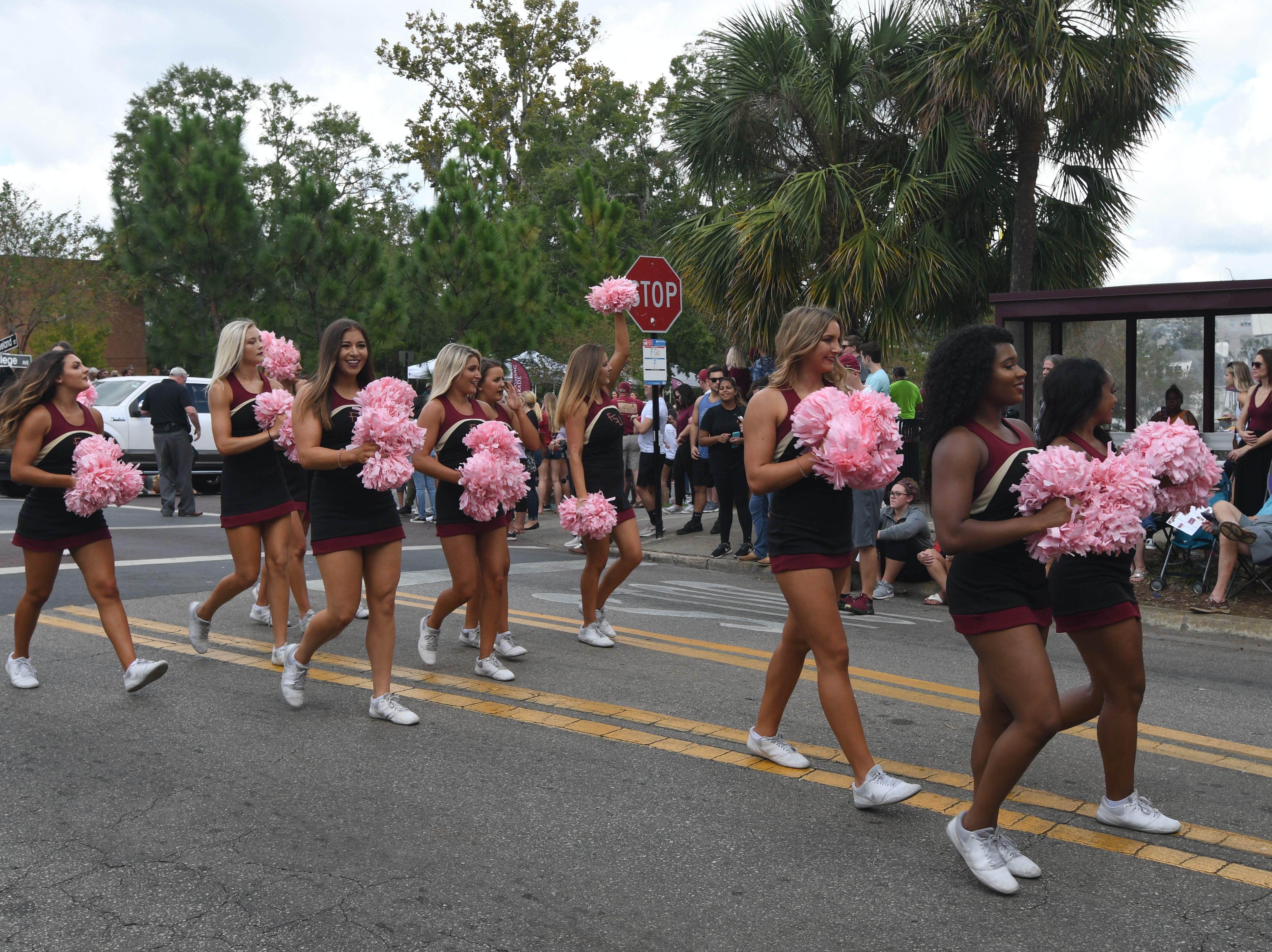 FSU Cheerleaders at the 2018 Homecoming Parade on October 19, 2018.
