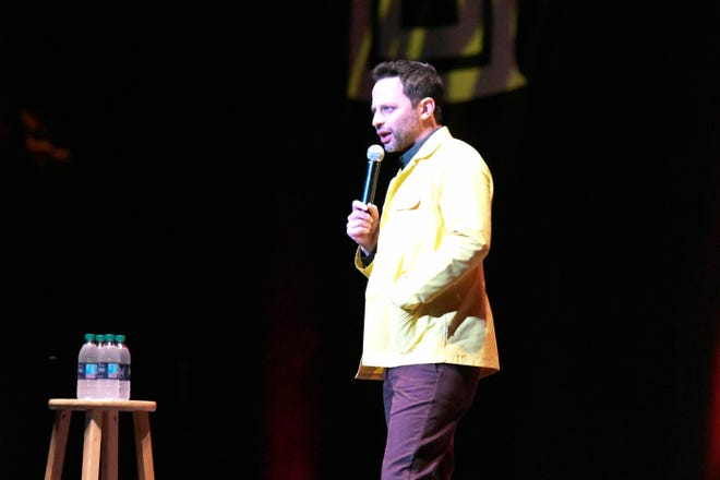 Comedian Nick Kroll performing at the Homecoming Pow Wow in the Tucker Center on October 19, 2018.