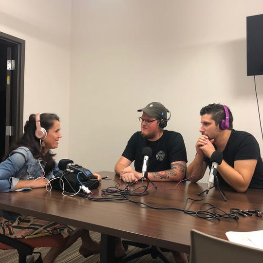 Betsy Couch (left) interviewed Jesse Taylor (middle) and Alex Workman (right) for the third episode of the Think TLH podcast series discussing their #NeverForgottenCoast campaign, which benefits Hurricane Michael.