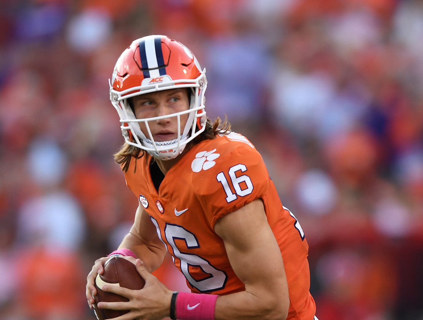 Clemson quarterback Trevor Lawrence (16) plays against NC State during the 3rd quarter Saturday, October 20, 2018 at Clemson's Memorial Stadium.