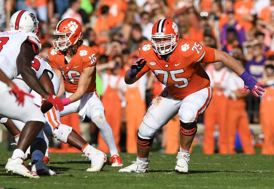 Clemson offensive lineman Mitch Hyatt (75) plays against NC State during the 2nd quarter Saturday, October 20, 2018 at Clemson's Memorial Stadium.