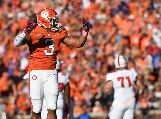 Clemson defensive lineman Xavier Thomas (3) plays against NC State during the 2nd quarter Saturday, October 20, 2018 at Clemson's Memorial Stadium.