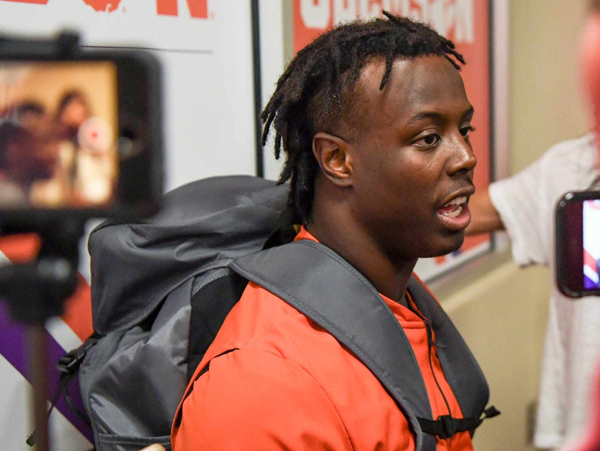Clemson running back Travis Etienne talks with media after the game with NC State in Memorial Stadium on Saturday, October 20, 2018.