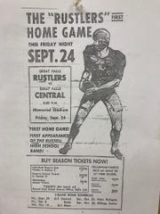 This flyer from 1965 advertises the CMR Rustlers' first-ever home game against Great Falls Central. On Saturday, Central will play their first football game in Memorial Stadium since 1972.
