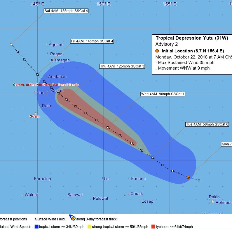 Yutu expected to be a typhoon when it passes north of Saipan on Thursday
