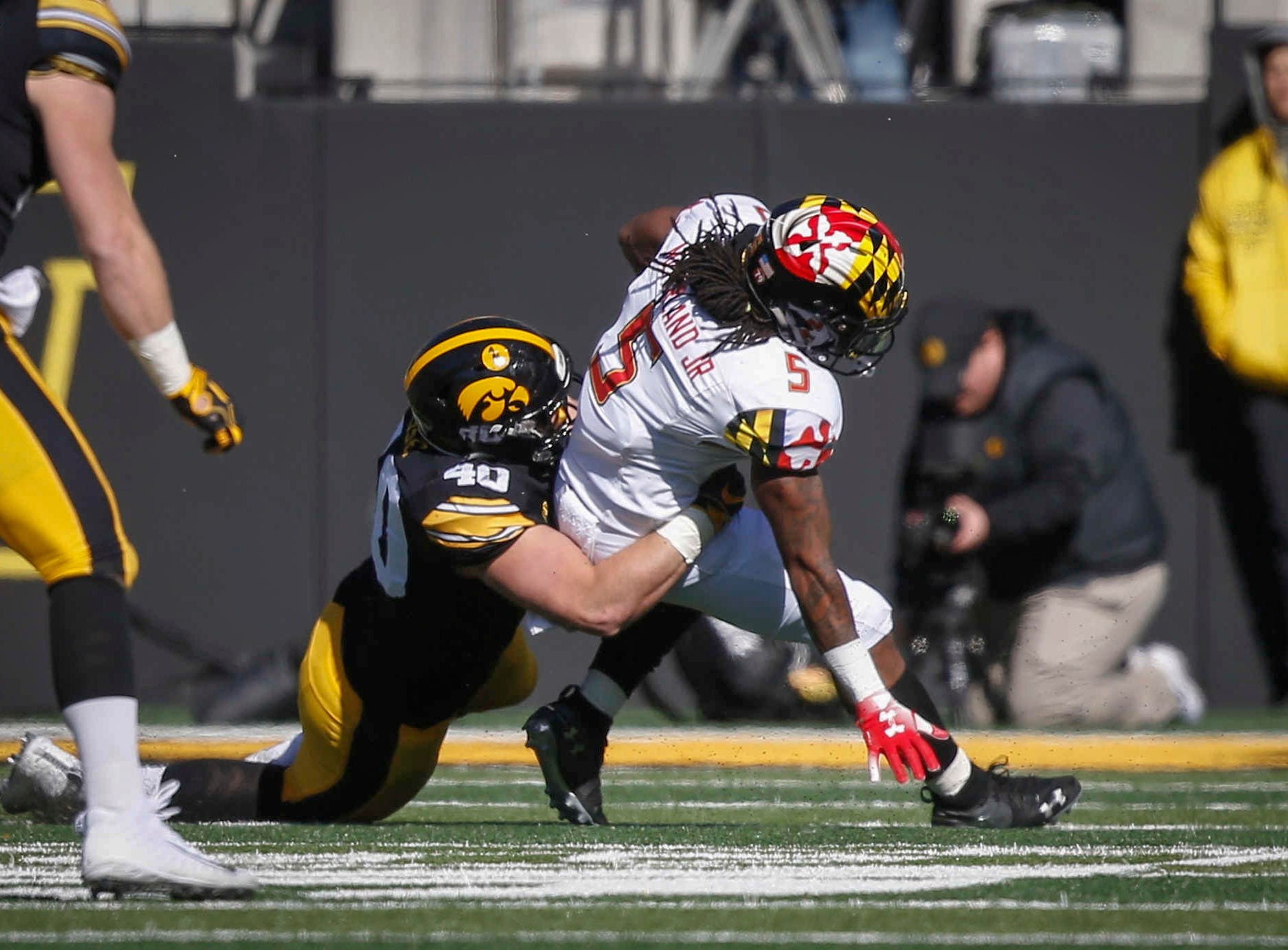 Iowa right end Parker Hesse tackles Maryland running back Anthony McFarland for a loss on Saturday, Oct. 20, 2018, at Kinnick Stadium in Iowa City.