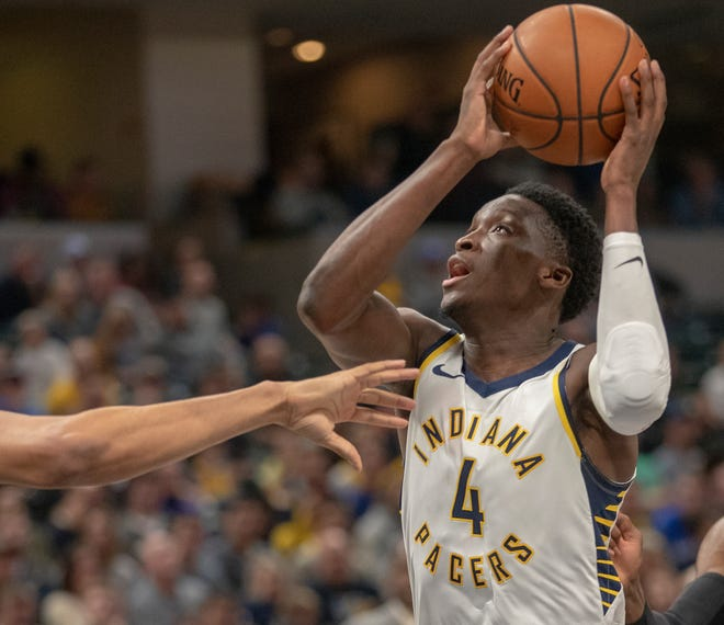 Victor Oladipo of the Indiana Pacers works a possession against the Brooklyn Nets Bankers Life Fieldhouse, Indianapolis, Saturday, Oct. 20, 2018. Indiana won 132-112.
