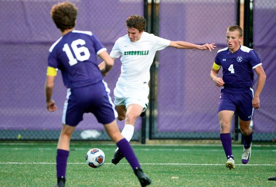 Zionsville Eagles forward Chris Freeman (6) scores a goal during the IHSAA 3A semistate soccer match against the Bloomington South Panthers at Seymour High School in Seymour, Ind., on Saturday, Oct. 20, 2018.