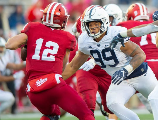 Penn State defensive end Yetur Gross-Matos (99) closes in on Indiana quarterback Peyton Ramsey (12) for a sack during the second half of an NCAA college football game Saturday, Oct. 20, 2018, in Bloomington, Ind. Penn State won 33-28. (AP Photo/Doug McSchooler)