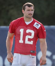 Indianapolis Colts quarterback Andrew Luck (12) sports a new mustache during their preseason training camp at Grand Park in Westfield on Sunday, August 12, 2018.