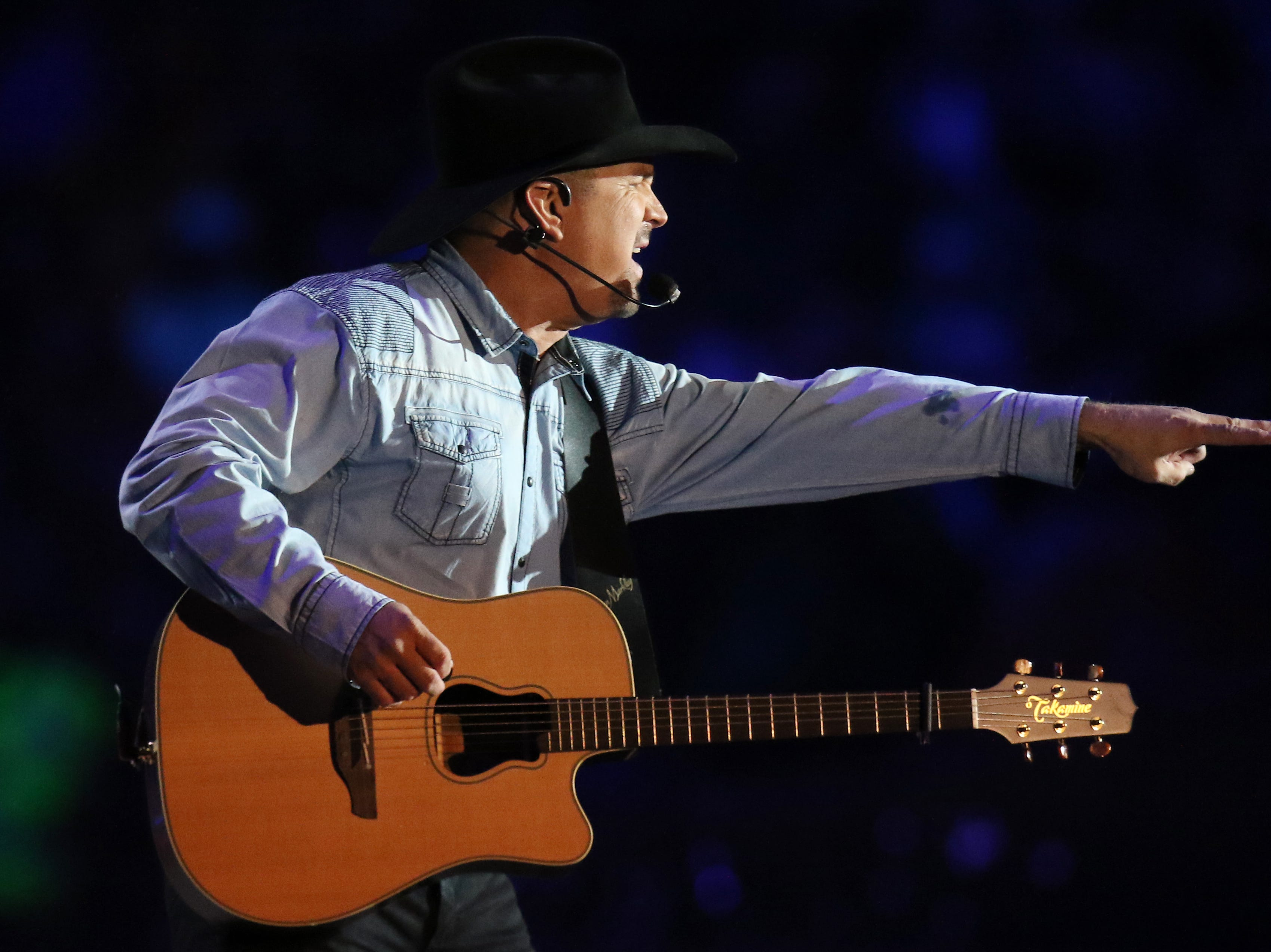 Garth Brooks performs at Notre Dame stadium for historic first-ever concert at Notre Dame Stadium in South Bend, Ind., on Saturday, Oct. 20, 2018.