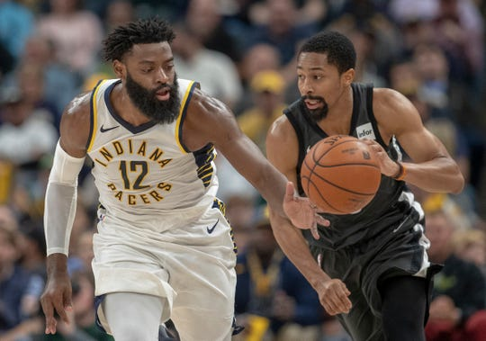 Tyreke Evans of the Indiana Pacers comes up with a loose ball against Spencer Dinwiddie of the Brooklyn Nets, Bankers Life Fieldhouse, Indianapolis, Saturday, Oct. 20, 2018. Indiana won 132-112.