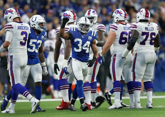 Indianapolis Colts defensive back Mike Mitchell (34) celebrates a tackle and a third down stop in the second half of their game against the Buffalo Bills on Sunday, Oct 21, 2018. The Colts defeated the Bills 37-5.