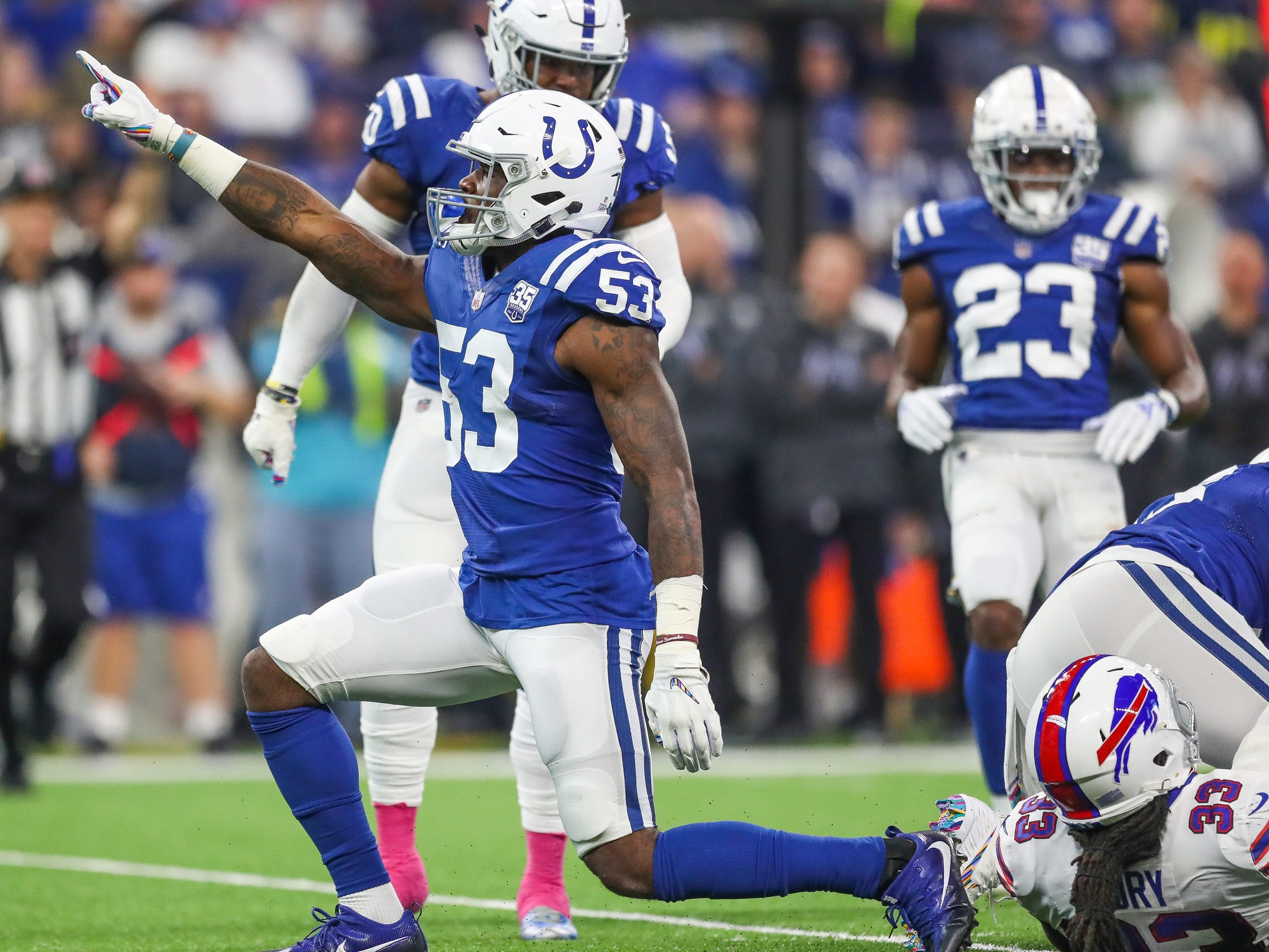 Indianapolis Colts linebacker Darius Leonard (53) celebrates a behind-the-line stop against the Buffalo Bills at Lucas Oil Stadium on Sunday, Oct. 21, 2018.