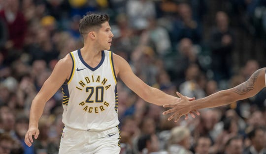 Doug McDermott of the Indiana Pacers gets congrats on a made shot against the Brooklyn Nets Bankers Life Fieldhouse, Indianapolis, Saturday, Oct. 20, 2018. Indiana won 132-112.