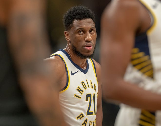 Thaddeus Young of the Indiana Pacers, Bankers Life Fieldhouse, Indianapolis, Saturday, Oct. 20, 2018. Indiana won 132-112.