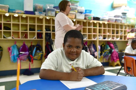 Linwood Elementary kindergartner Antroine Anderson works on a reading comprehension exercise in April Ketchum's class. Vaughan, Miss. Monday, April 23, 2018.