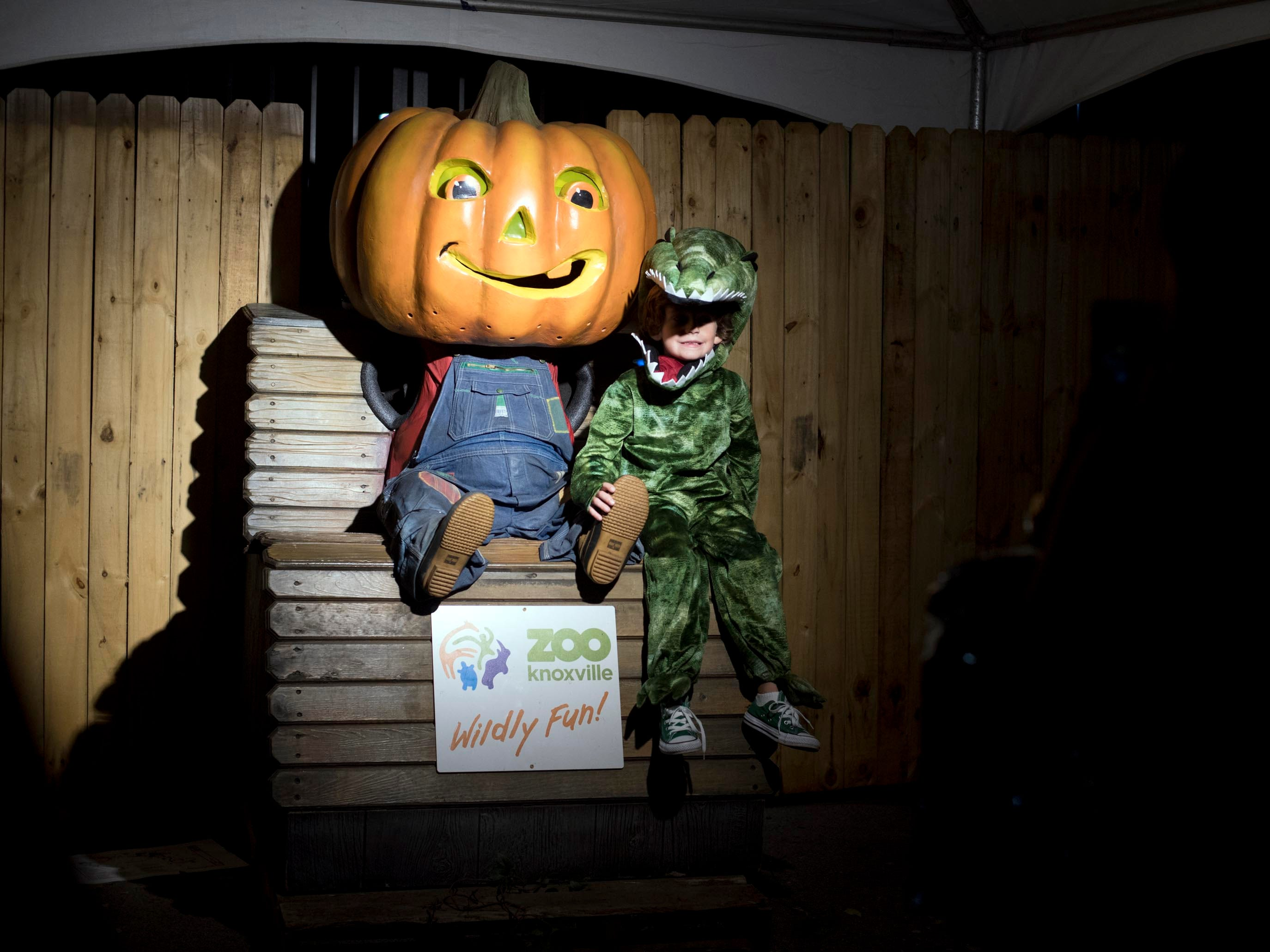 A dinosaur sits with a jack-o-lantern prop for a photograph at Zoo Knoxville's Boo! at the Zoo on Saturday, October 20, 2018.