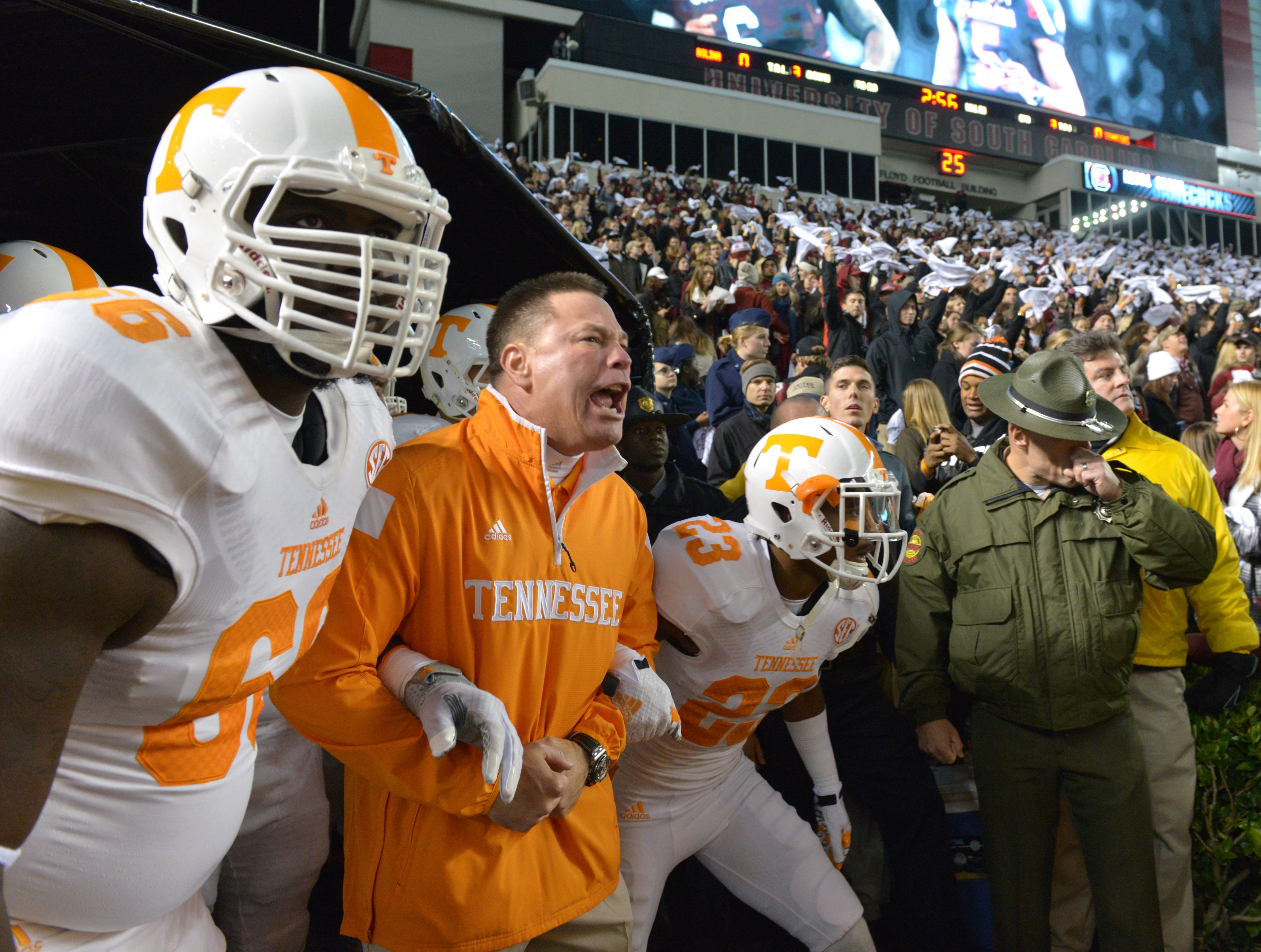 Tennessee coach Butch Jones ready to take the field  against South Carolina in Williams-Brice Stadium Saturday, Nov. 1, 2014 in Columbia, S.C.