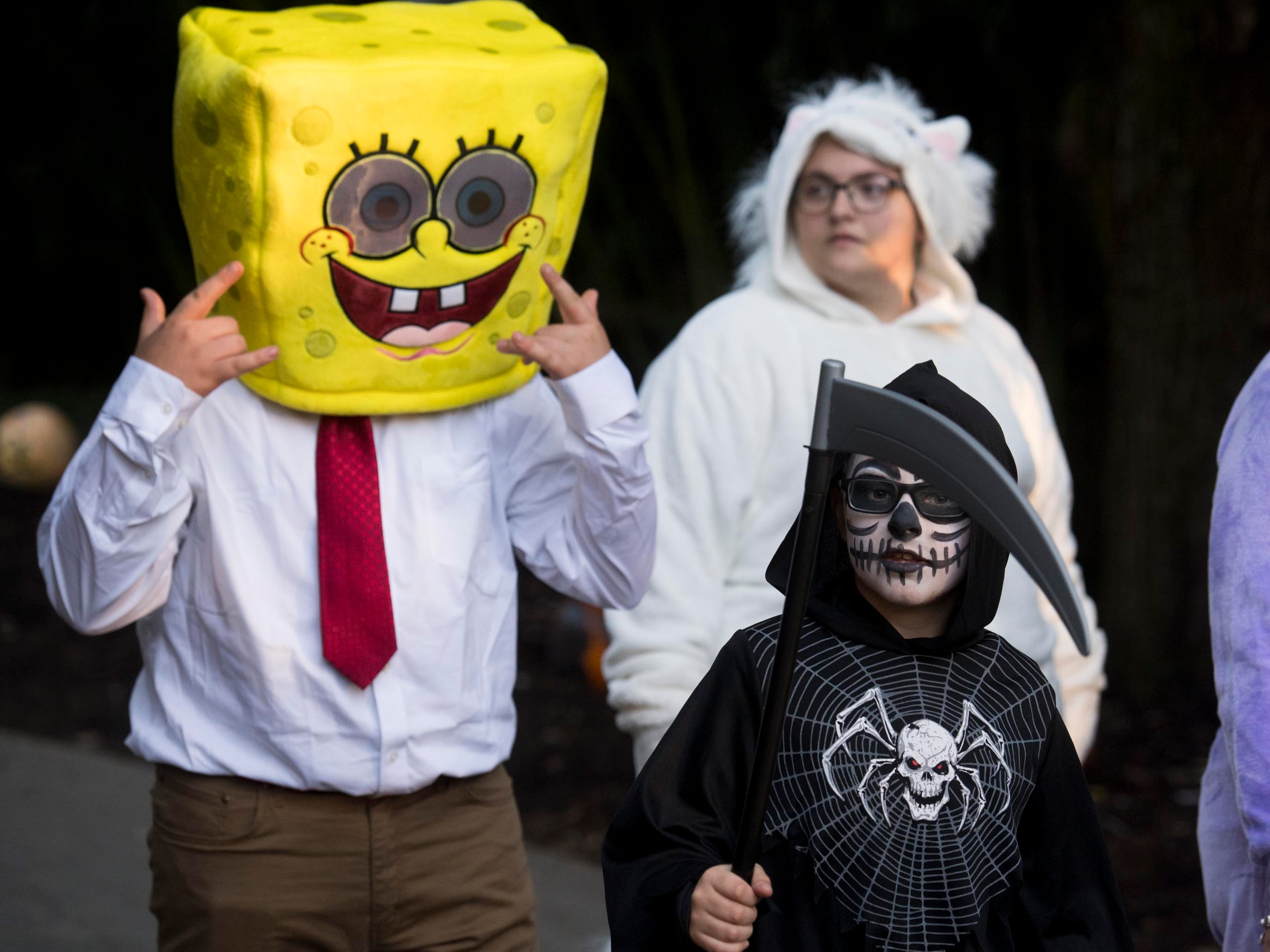 Spongebob Squarepants with the Grim Reaper at Zoo Knoxville's Boo! at the Zoo on Saturday, October 20, 2018.