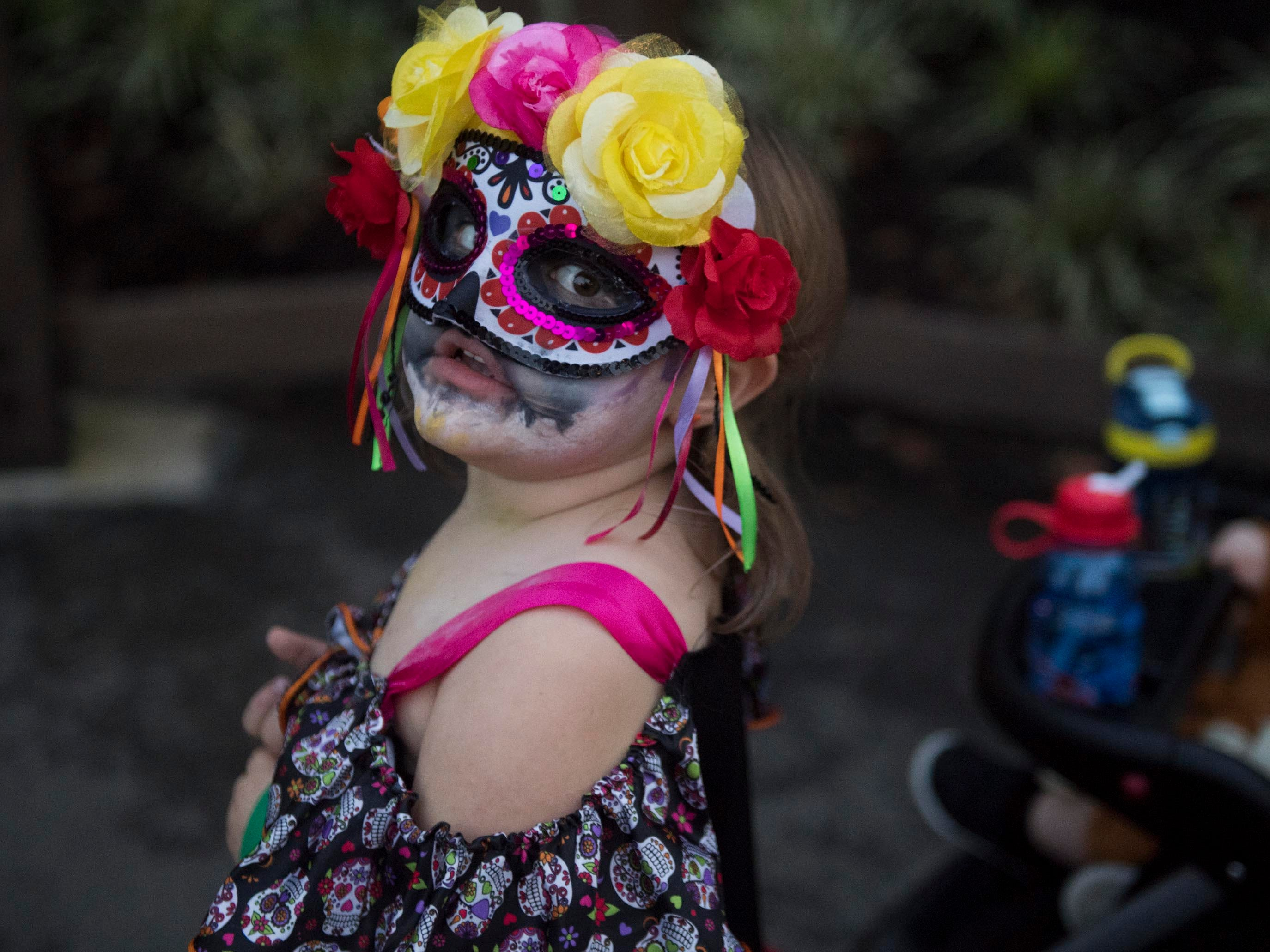 Lilly Swanson in Dia de los Muertos themed costume at Zoo Knoxville's Boo! at the Zoo on Saturday, October 20, 2018.
