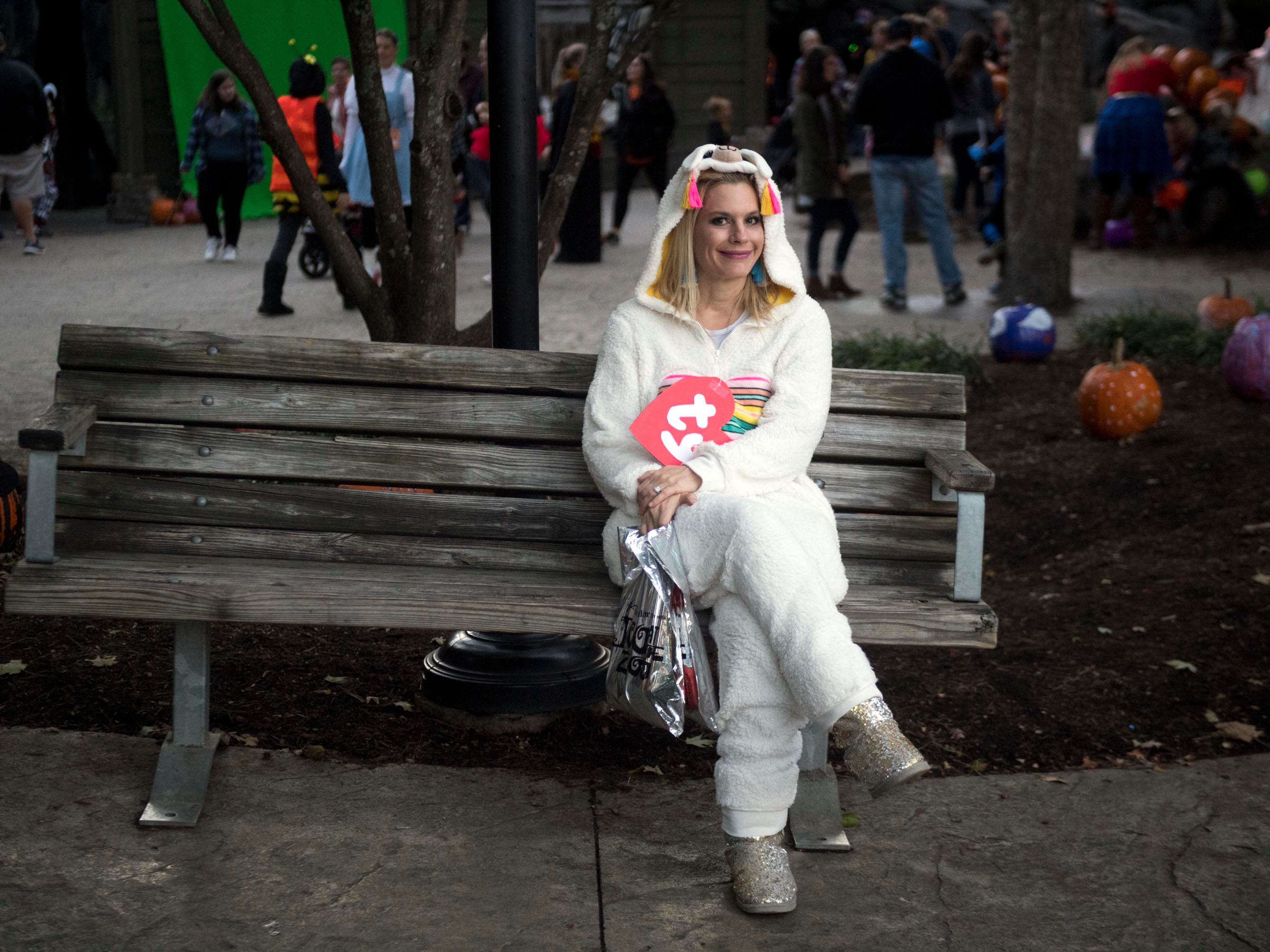 Molly Leita takes a moment to rest during Zoo Knoxville's Boo! at the Zoo on Saturday, October 20, 2018.