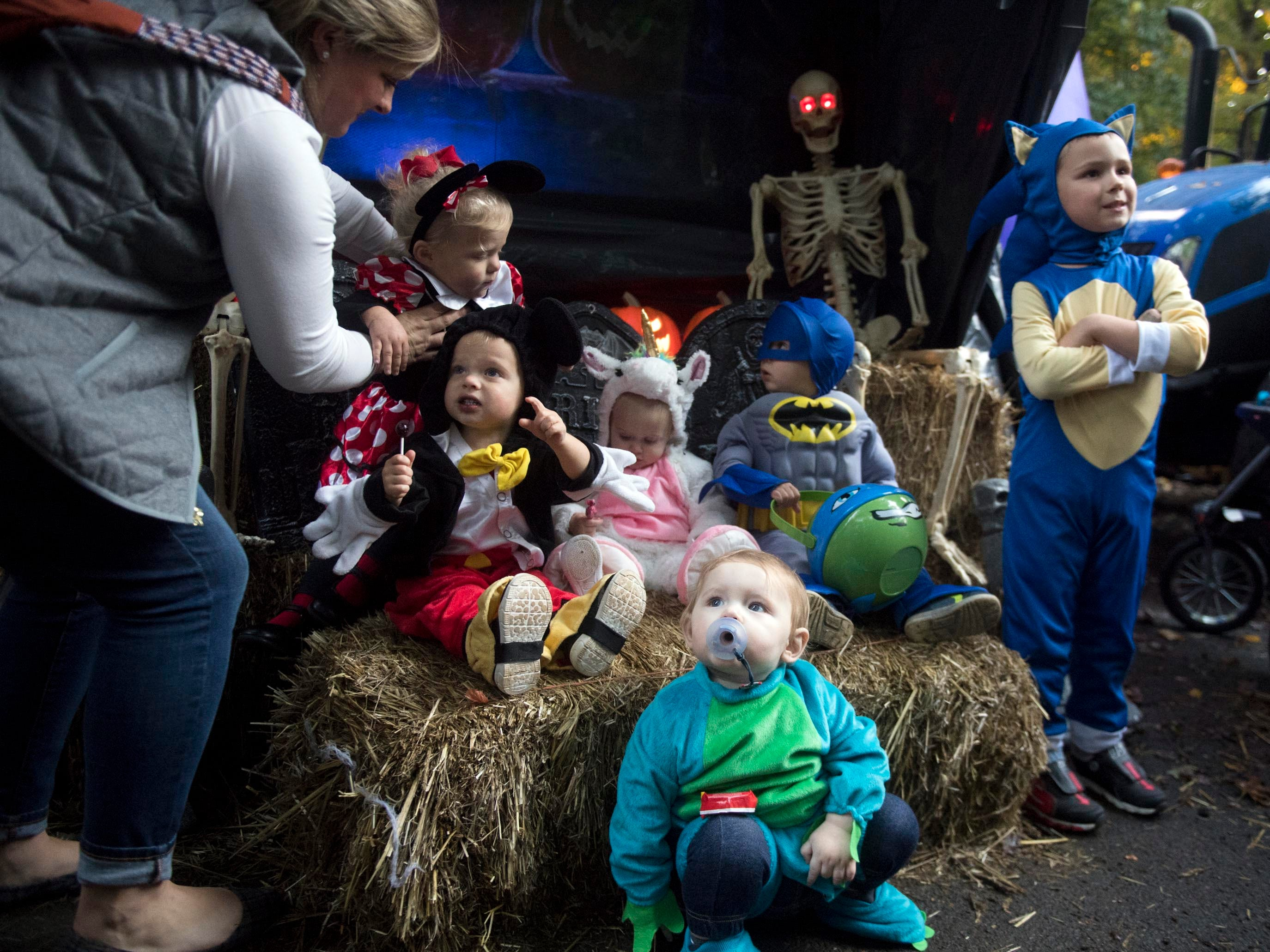Children are gathered for a group photograph during Zoo Knoxville's Boo! at the Zoo in Saturday, October 20, 2018.