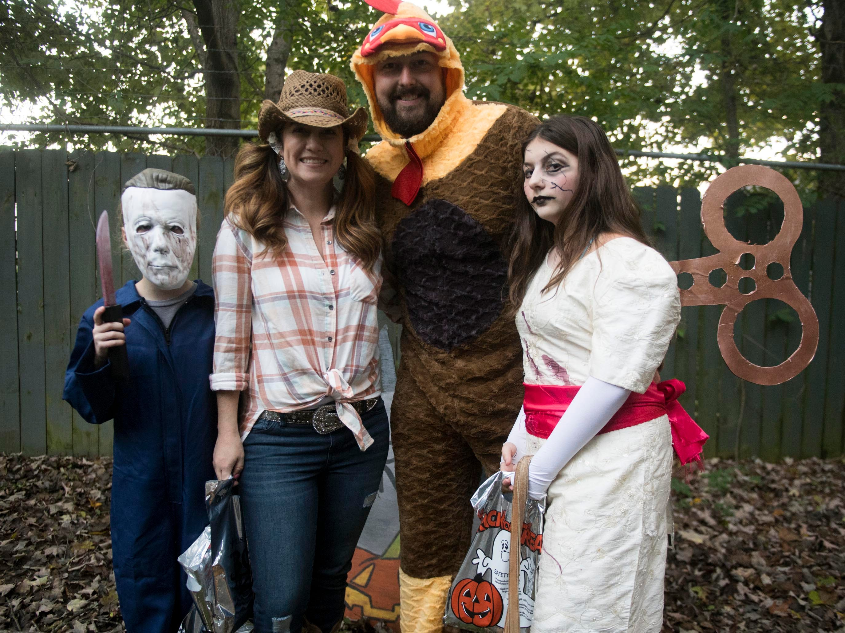 Megan and Nathan Felker with their children at Zoo Knoxville's Boo! at the Zoo on Saturday, October 20, 2018.