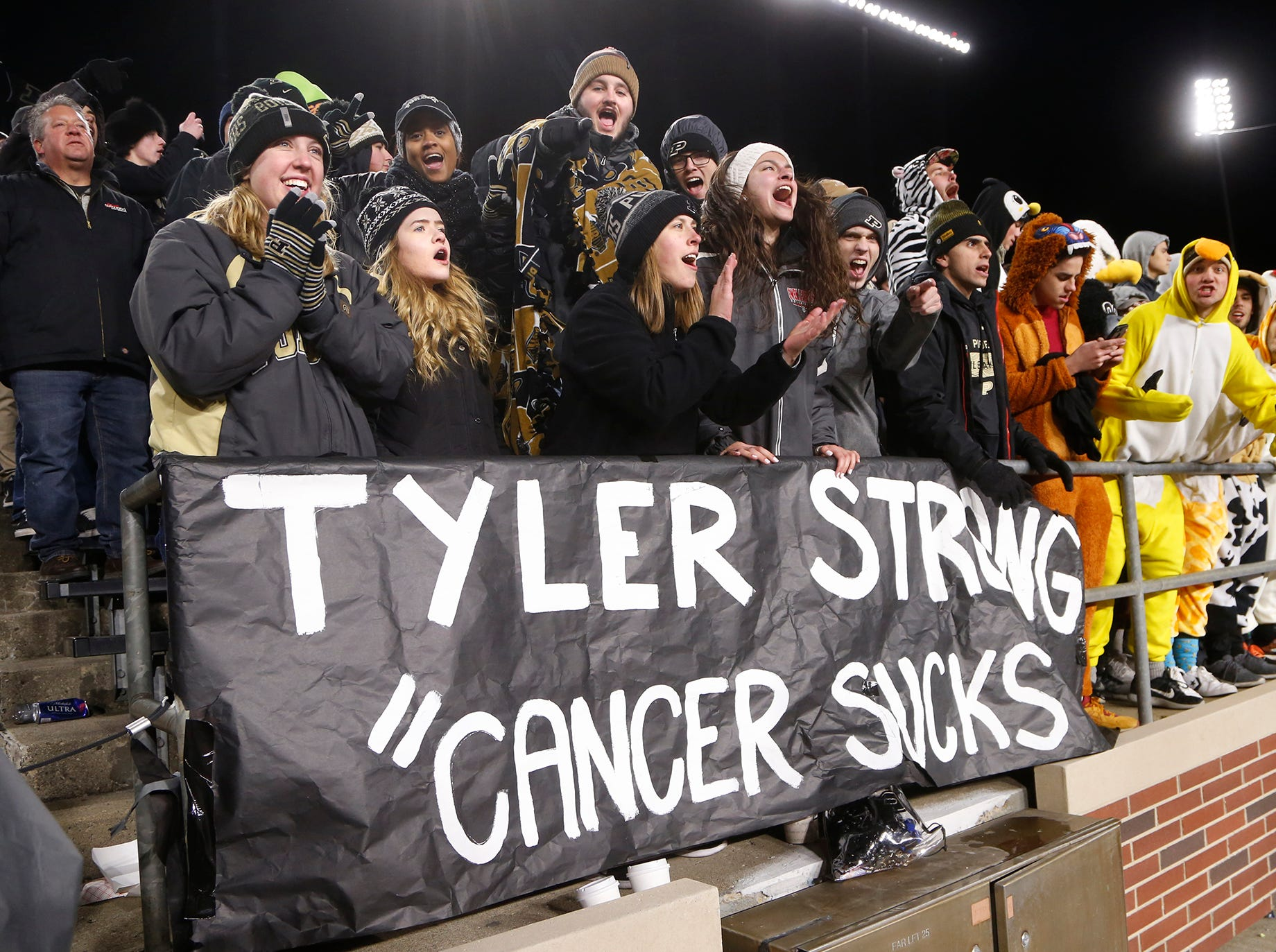 The Purdue faithful show their support for Tyler Trent as the Boilermakers pull away from Ohio State in the fourth quarter Saturday, October 20, 2018, at Ross-Ade Stadium. Trent, a Purdue student, is battling a rare form of bone cancer. Purdue upset the No. 2 ranked Buckeyes 49-20.