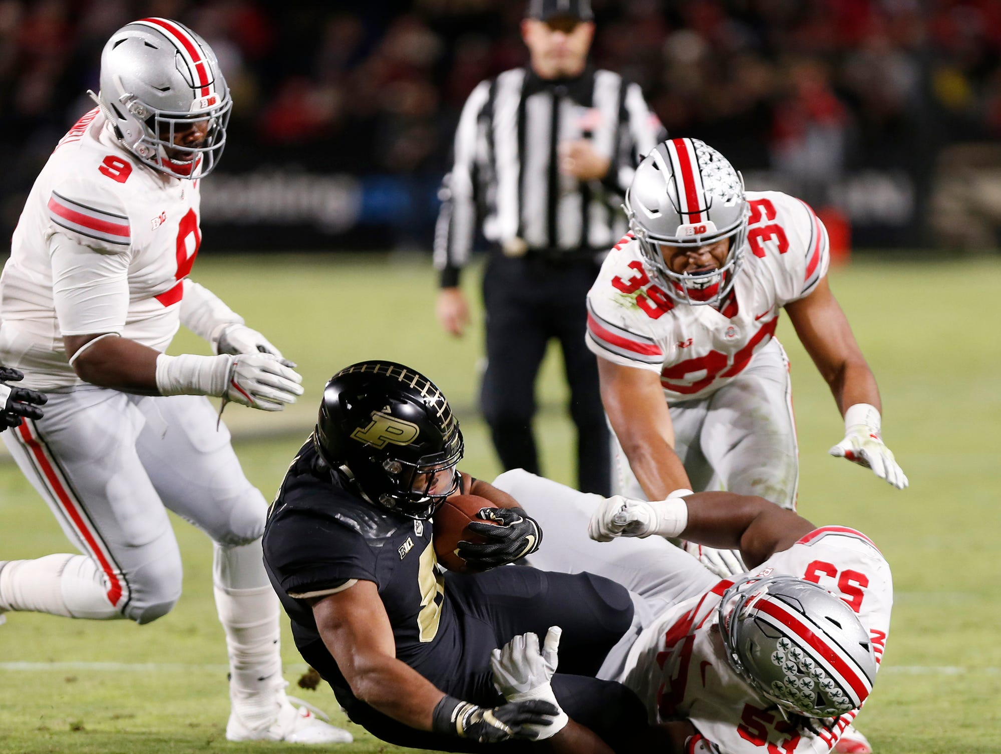 Markell Jones with a first half carry against Ohio State Saturday, October 20, 2018, at Ross-Ade Stadium. Purdue upset the No. 2 ranked Buckeyes 49-20.