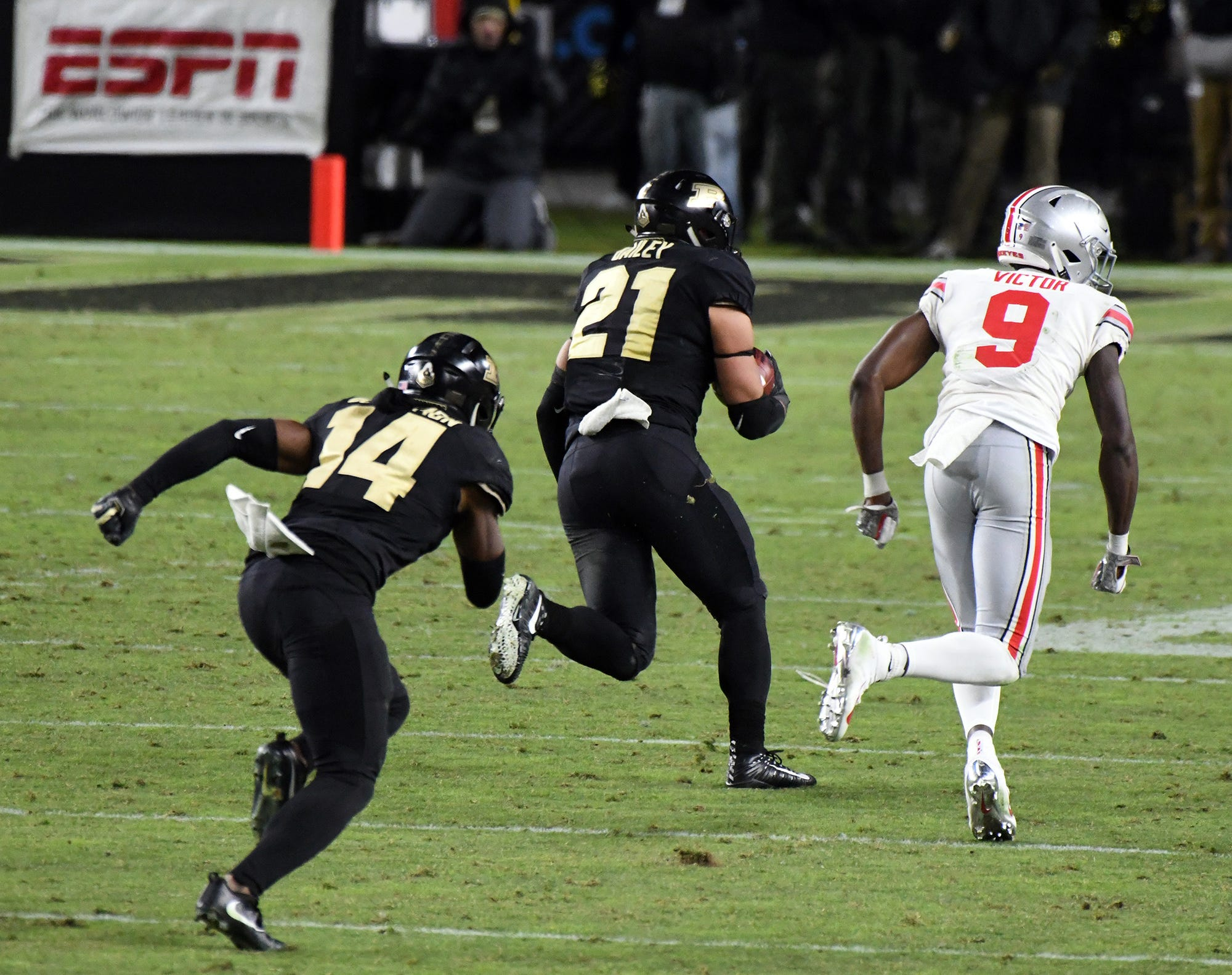 Purdue's Markus Bailey returns an interceptions for a touchdown as Purdue upsets Ohio State in West Lafayette on Saturday October 20, 2018.