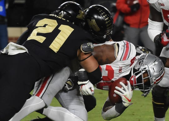 Purdue linebacker Markus Bailey (21) made 15 tackles in last week's 49-20 upset of No. 2 Ohio State.