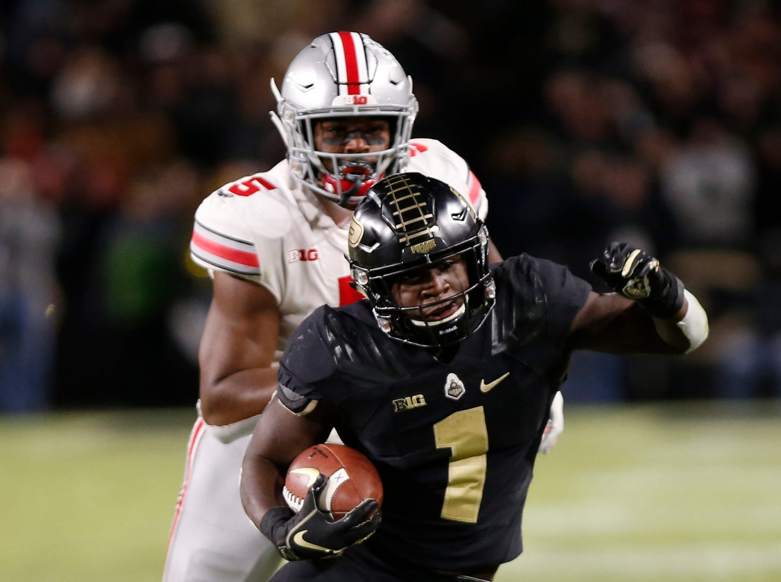 D. J. Knox with a carry against Ohio State Saturday, October 20, 2018, at Ross-Ade Stadium. Purdue upset the No. 2 ranked Buckeyes 49-20.