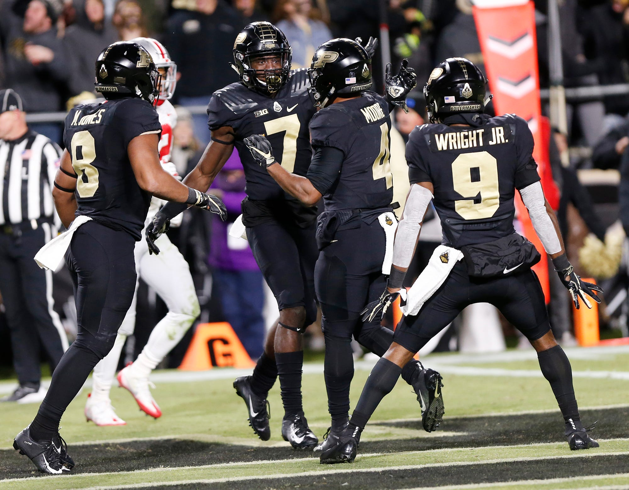 Isaac Zico (7) of celebrates with his Purdue teammates after his first half touchdown against Ohio State Saturday, October 20, 2018, at Ross-Ade Stadium.