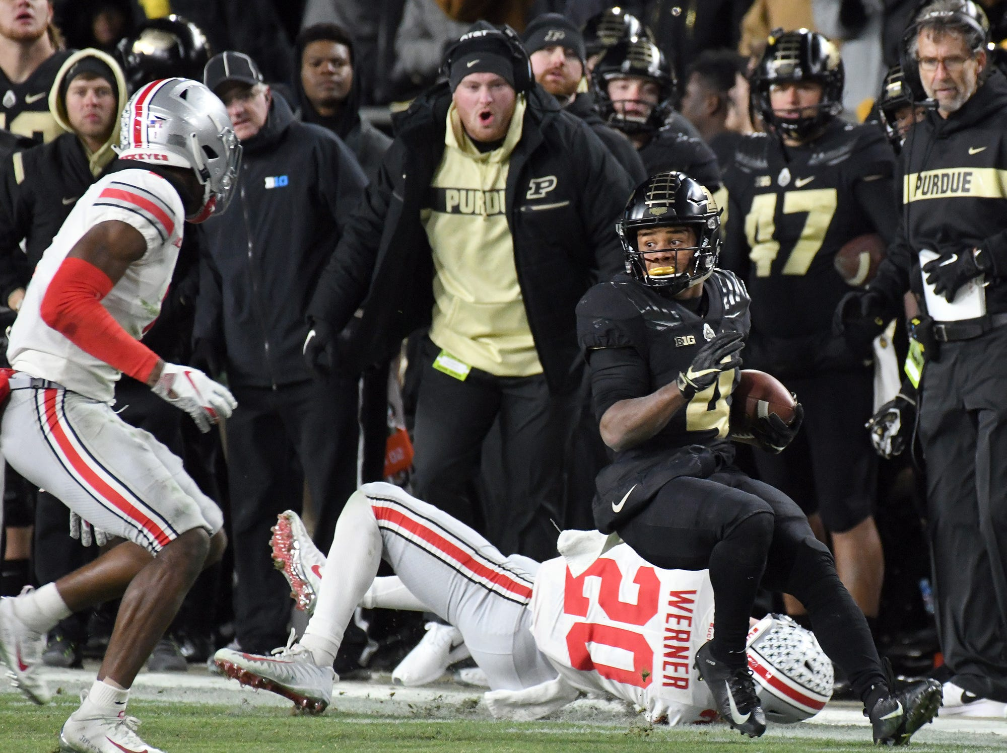 Purdue's Rondale Moore as Purdue upsets Ohio State in West Lafayette on Saturday October 20, 2018.