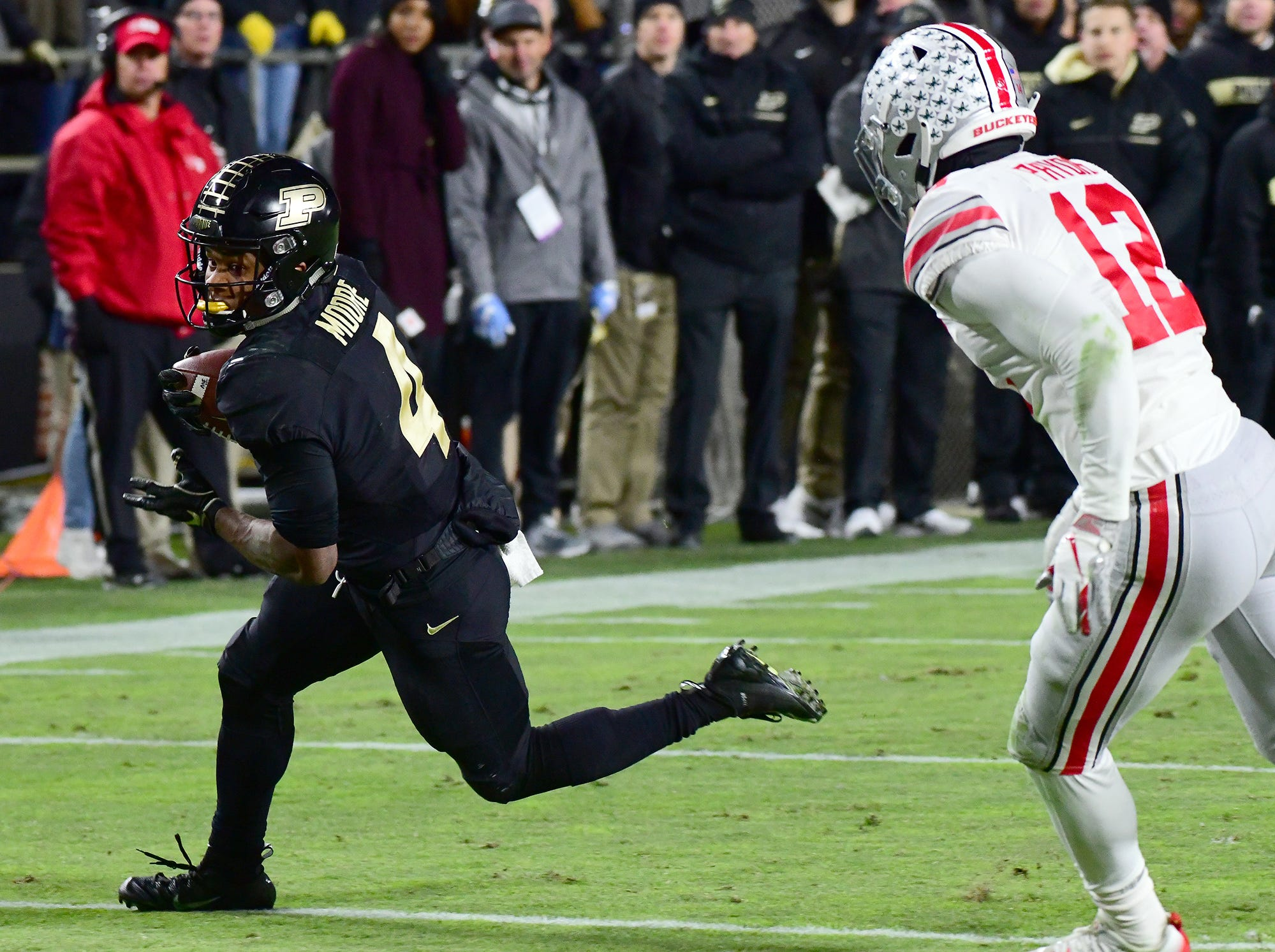 Purdue's Rondale Moore scores as Purdue upsets Ohio State in West Lafayette on Saturday October 20, 2018.