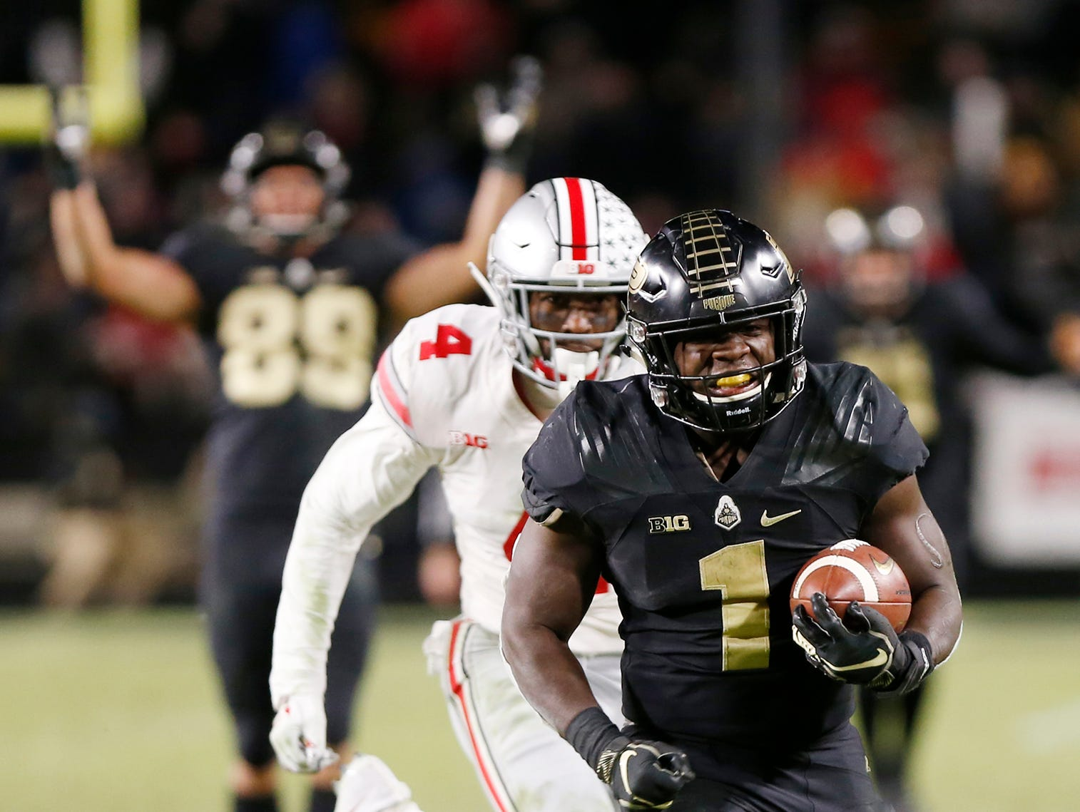D. J. Knox of Purdue breaks free for a touchdown in the fourth quarter against Ohio State Saturday, October 20, 2018, at Ross-Ade Stadium. Purdue upset the No. 2 ranked Buckeyes 49-20.