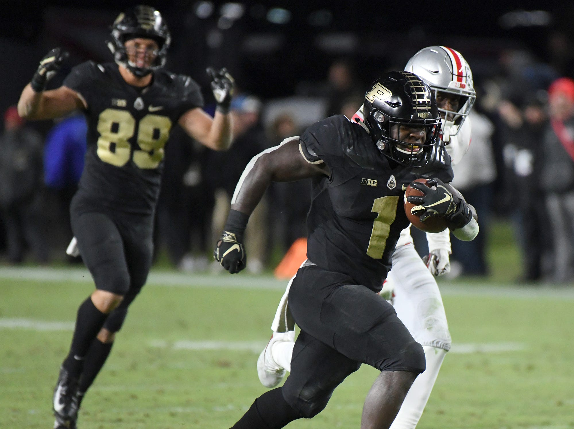 Purdue's D.J. Knox heads for the endzone as Purdue upsets Ohio State in West Lafayette on Saturday October 20, 2018.