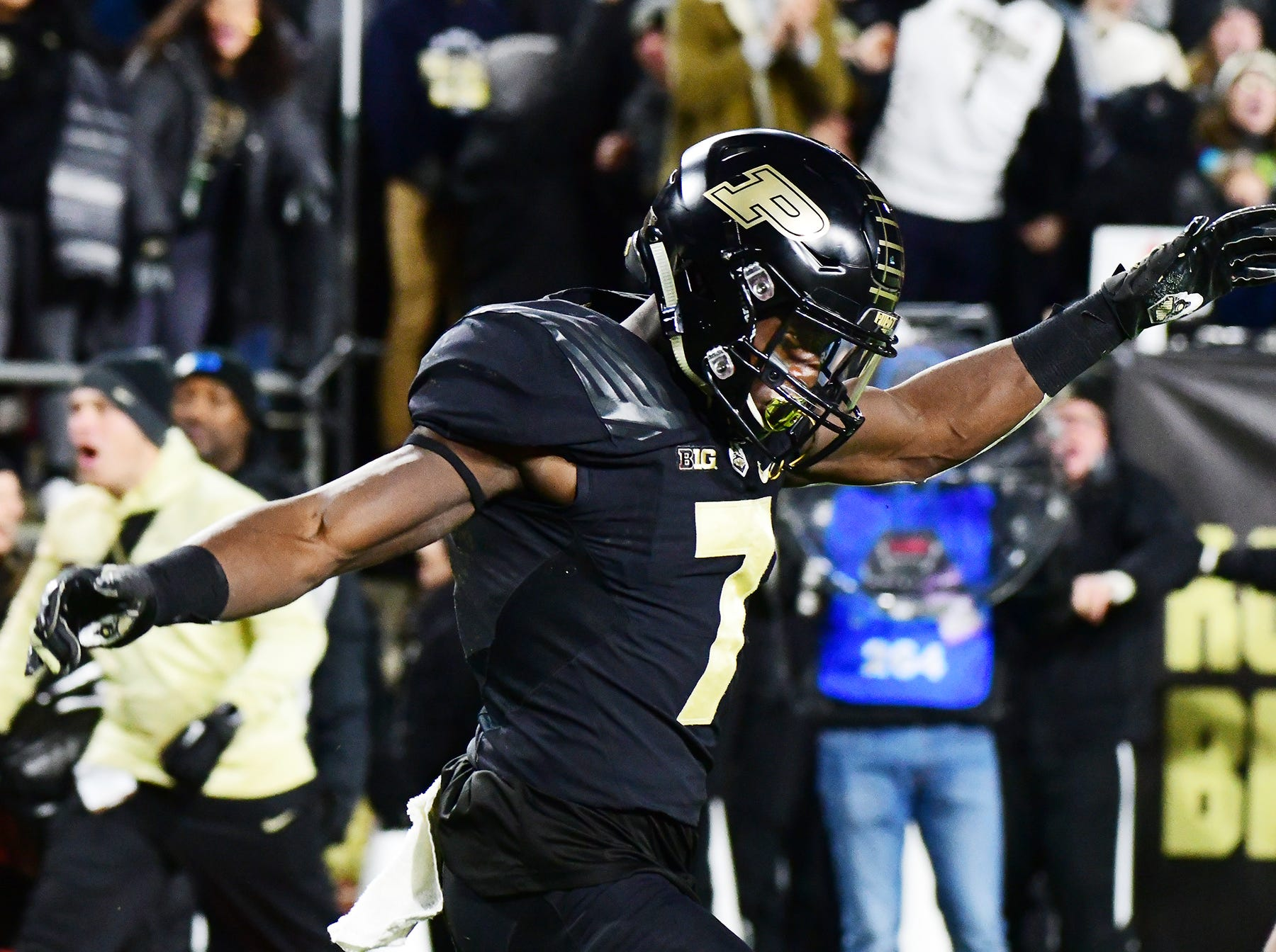 Isaac Zico of Purdue celebrates after his touchdown reception in the first half against Ohio State Saturday, October 20, 2018, at Ross-Ade Stadium. Purdue upset No. 2 ranked Ohio State 49-20.