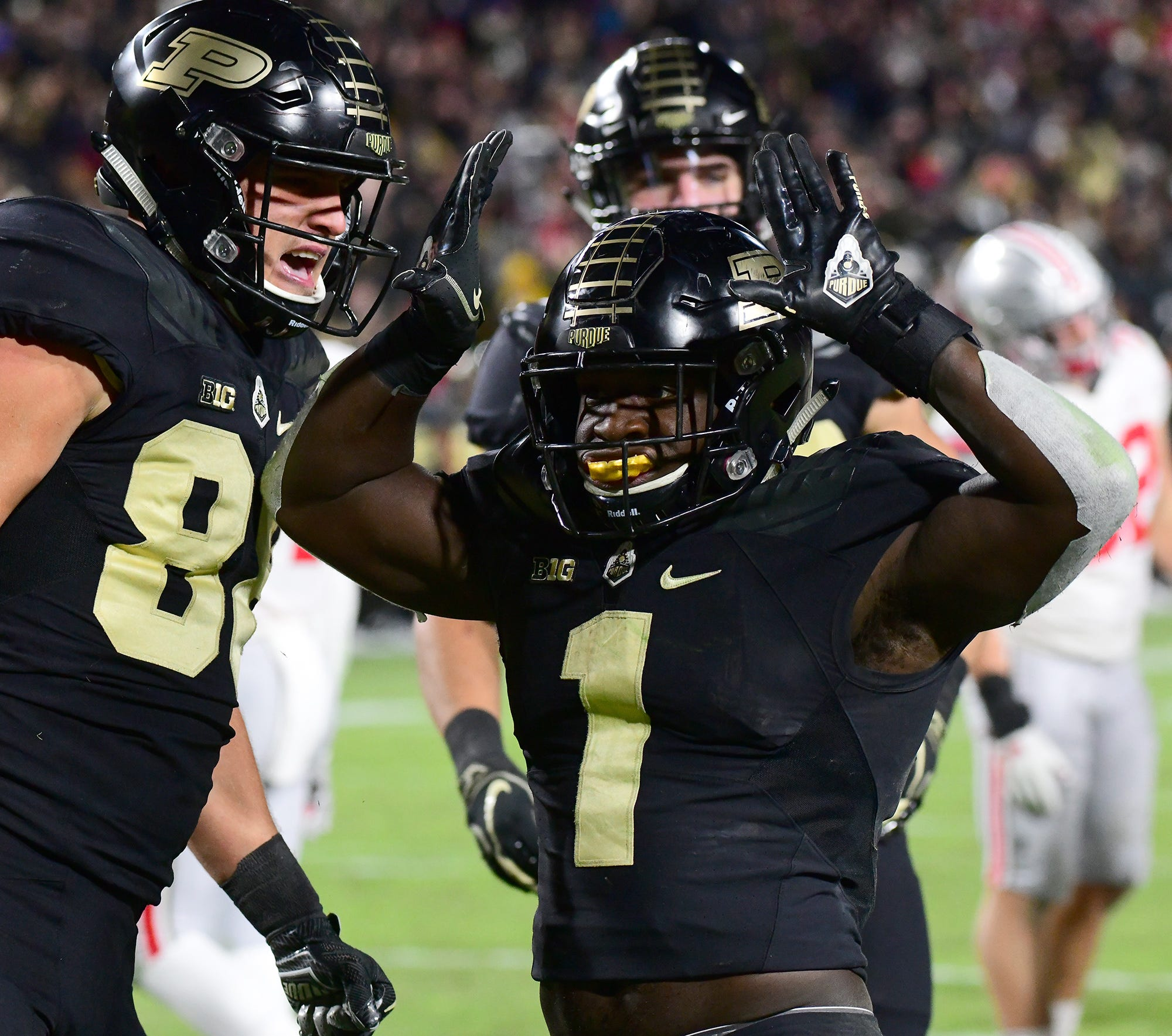 Purdue's D.J. Knox runs for a touchdown as Purdue upsets Ohio State in West Lafayette on Saturday October 20, 2018.