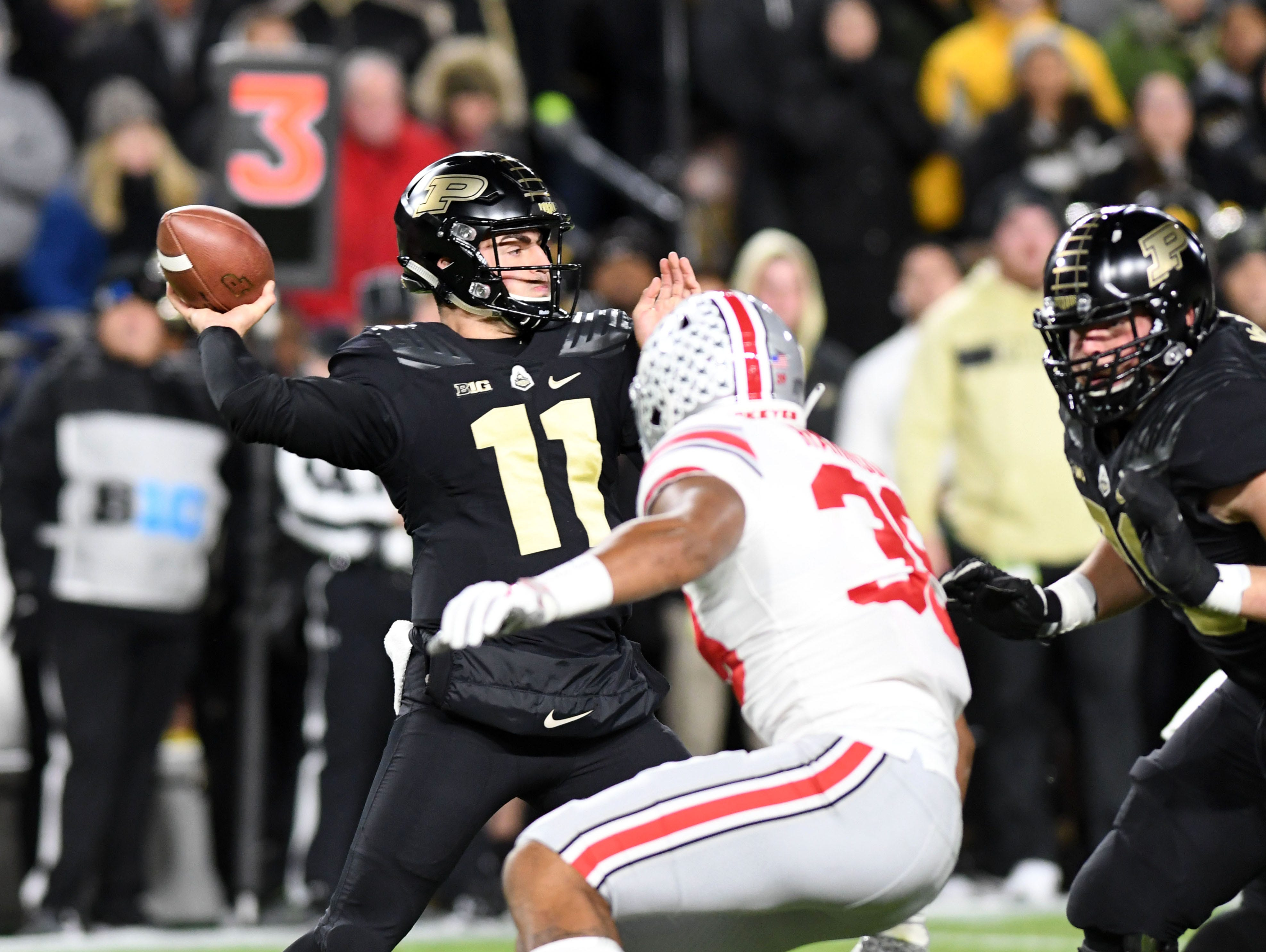 Oct 20, 2018; West Lafayette, IN, USA; Purdue Boilermakers quarterback  David Blough (11) drops back to pass in the first half against the Ohio State Buckeyes at Ross-Ade Stadium. Mandatory Credit: Thomas J. Russo-USA TODAY Sports